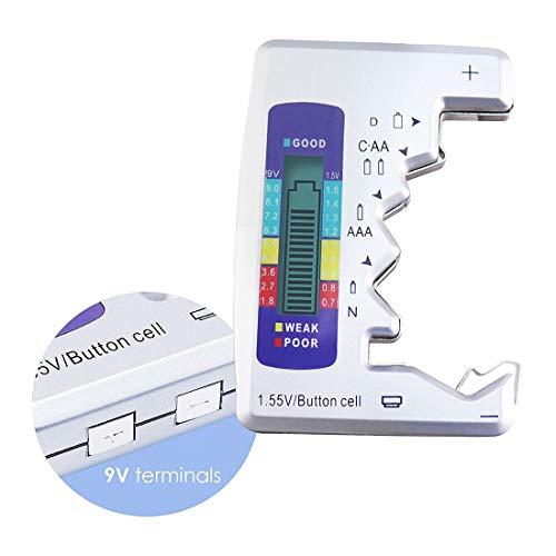 GST&GST Batterietester, Digitaler Batterie Tester Universal Batterieprüfer Volt Prüfgerät Für 1,5V Und 9V Batterie AA AAA C D 9V 1.5V Knopf Knopfzellen (Batterietester)