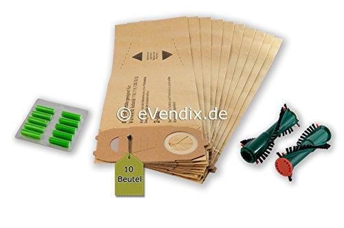 eVendix Filterset 10 Staubsaugerbeutel/Staubbeutel + Rundbürsten passend für Vorwerk Kobold 118,119, 120, 121, 122