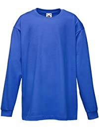 New Fruit Of The Loom Unisex Childrens Valuweight Long Sleeve Crew Neck Shirts