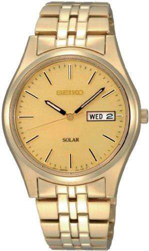 Seiko Herren-Armbanduhr XL Solar Analog Quarz Edelstahl beschichtet SNE036P1