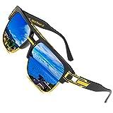 Retro Oversized Sonnenbrille Metall Rahmen großen brille Square - Spiegel herren damen Eyewear hälfte frame piloten Gold UV400