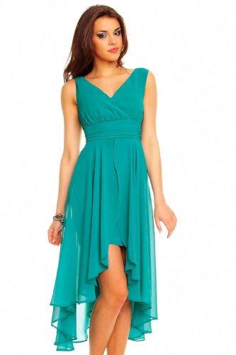 Vokuhila Abendkleid, Cocktailkleid, Kleid aus Chiffon in teal grün, M 36