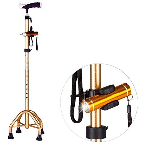 XCJ Palo de cuatro pies con bastón de aluminio ligero Palo de cuatro telescópicos para los ancianos el mayor Altura ajustable del andador