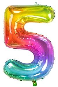 Folat Globo de lámina Yummy Gummy Rainbow Número 5-86 cm, multicolor (63245)