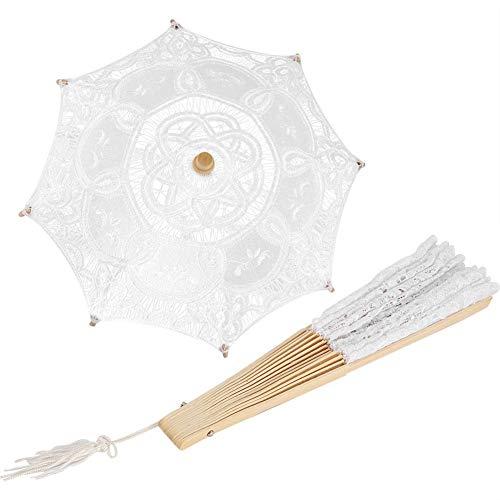 Fächerset für Damen, Metall, Spitze, Regenschirm für Braut, faltbar, Baumwolle, Spitze, Handfächer für Hochzeitsfotografie
