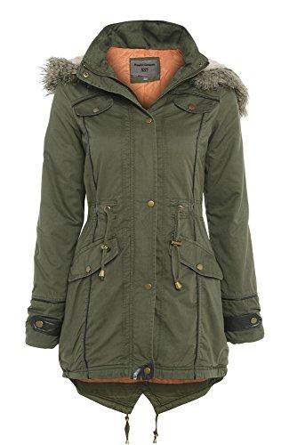 SS7 Oversized Hood Fishtail Parka Coat, Khaki, Sizes 10, 12 (UK - 20, Khaki)