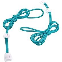 Cordones - SODIAL(R) 1 par de cordones elasticos cordones de cierre de zapatos de 120cm de color azul + blanco
