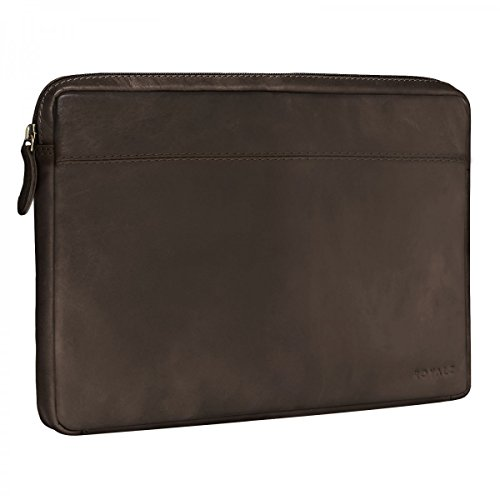 ROYALZ Vintage Ledertasche für Microsoft Surface Book 2 / Microsoft Surface Book Tasche Leder (13,5 Zoll) Lederhülle Hülle Schutzhülle Sleeve Etui Retro, Farbe:Dunkelbraun Matt