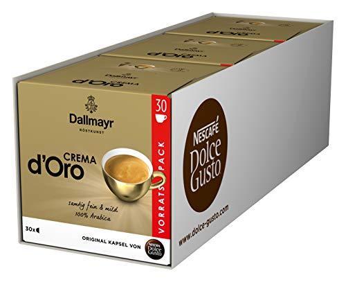 NESCAFÉ Dolce Gusto Dallmayr Crema d'Oro, XXL-Vorratsbox, schnelle Zubereitung, aromaversiegelte Kapseln, 90 Kaffeekapseln