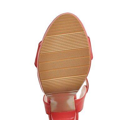 LvYuan Da donna Sandali Comoda Cinturino alla caviglia Di pelle Estate Formale Comoda Cinturino alla caviglia Fibbia QuadratoBianco Nero Rosso Black