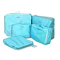 Packing Cubes, Multipurpose Essential Travel Luggage Packing Organiser Bags Suitcase Clothes Toiletries Cosmetics Case Storage Handle Bag Pouch set 5 Piece Blue