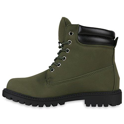 Warm Gefütterte Worker Boots Damen Outdoor Stiefeletten Bequem Dunkelgrün