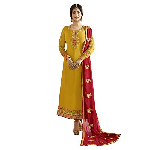 Monika Silk Mill Latest Yellow coloured Party wear Traditional Embroidery Semi Stitched Straight Suit with Duppata for women/Salwar Suit/Partywear, Functionalwear, Ceremonywear Salwar Suits