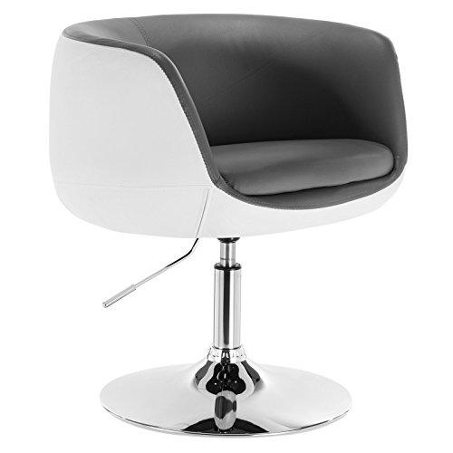 WOLTU BH42grw-1 1 x Barsessel Loungesessel mit Armlehne Kunstleder 2 farbig Grau+Weiß