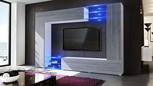 Wohnwand Anbauwand Mirage, Korpus in Weiß matt / Fronten in Avola- Anthrazit inkl. LED Beleuchtung - 2