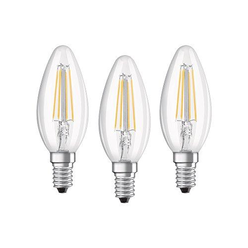 OSRAM - Lot de 3 Ampoules LED Filament Flamme - Culot E14 - 4 W Equivalent 40 W - Blanc Chaud 2700K