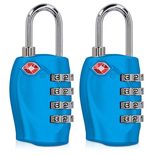 kwmobile 2 candados con Certificado TSA - 2X Candado de Seguridad con código numérico - Cerradura para Maletas Equipaje Mochila y Bolso en Azul