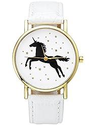 JSDDE Uhren,Damenmode Schwarz Einhorn Armbanduhr Kunstleder-Band Golden Stern Damenuhr Analog Quarzuhr,Weiss