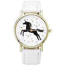 JSDDE - Reloj de pulsera analógico para mujer, cuarzo, banda dorada, correa de piel sintética, diseño de unicornio negro, color blanco
