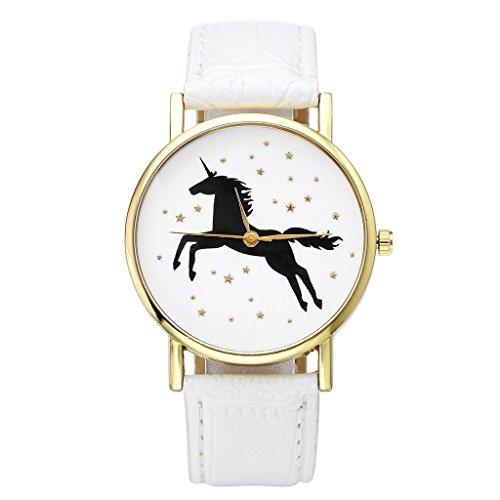JSDDE-Montre-bracelet--quartz-analogique-en-cuir-synthtique-Motif-licorne-et-toiles-dores-pour-femme-Blanc