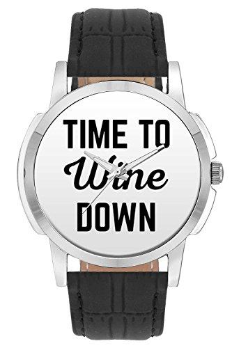 Wrist Watch - Time To Wine Down Analog Men's and Boy's Wrist Watch - Unique Analog Quartz Leather Band Wrist Watch by BigOwl