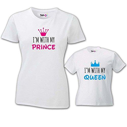 Coppia Di T Shirt Donna Bambino Festa Della Mamma I'm With My Queen T-Shirt Bianche Mamma e Maschietto