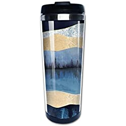 Cavdwa Midnight Lake Customized 13.5 Oz Insulated Stainless Steel Coffee Mug with Lid, Double Stainless Steel Sessile