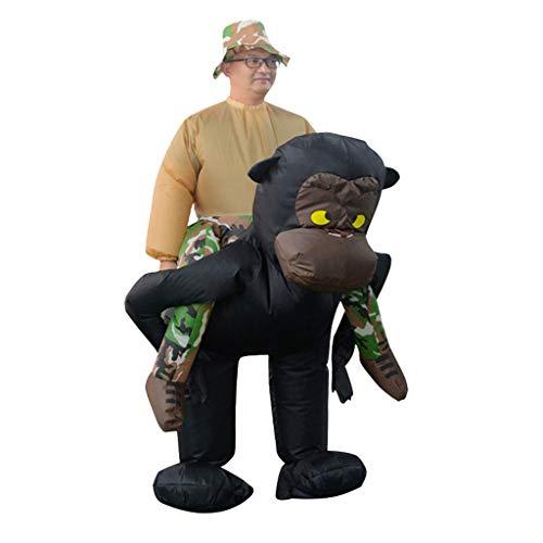Sllowwa Aufblasbares Unisex Kostüm Großwildjäger auf dem Rücken eines Gorillas Karnevalskostüme(Schwarz1,) (Machen Sie Eine Power Ranger Kostüm)