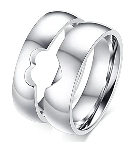 Daesar Womens Wedding Bands Stainless Steel Ring for Couples Heart Puzzle Rings CZ With Gift Box UK R 1/2