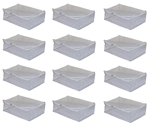 """Kuber Industriesâ""""¢ Saree cover Full Transparent With Capacity of 10-15 Sarees (White Lace) Set Of 12 Pcs"""