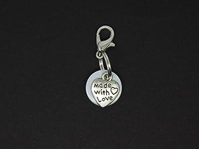 Breloque Charm pour Bola de Grossesse ou pour Mettre sur un Bracelet Collier Porte Clés Cœur sur Nacre Blanche