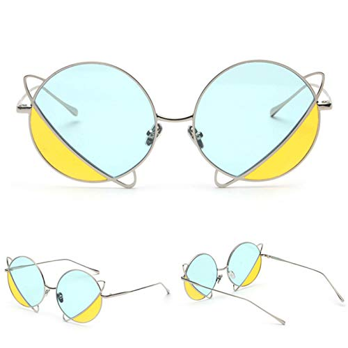 Daawqee NEW Fashion Double Color Tint Ocean Lens Round Sunglasses Women Future Sun Glasses Oculos De Sol S31138 C37
