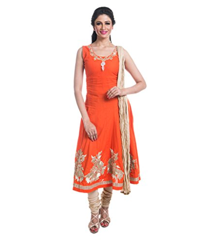 Cynthia's Fashion, CFK243_COT_AK_SS, Cotton Solid Color Salwar Suit, Zari Emboridered Kurta, Anarkali Cut with Cotton Churidar or Leggings and Dupatta Set  available at amazon for Rs.1999