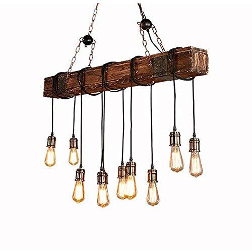 10 Licht Kronleuchter (DGHDFH * Kronleuchter Kronleuchter Retro Industrielle Vintage Holz Metall Höhenverstellbar E27 * 10 Kronleuchter/Kronleuchter (10 Lichter) ●)