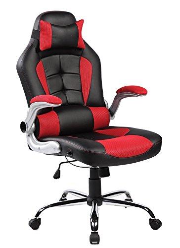 Merax® Racing Stuhl Gaming Stuhl Sportsitz Bürostuhl Chefsessel Ergonomische Liege Design PU Kunstleder Rücklehne Armlehnen einstellbar, schwarz/rot