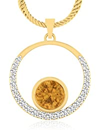 IskiUski Yellow Topaz 14Kt Swarovski Crystal Yellow Gold Pendant Yellow Gold Plated For Women