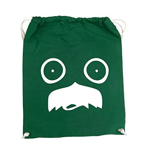 Comedy Bags - GESICHT SCHNURRBART - COMIC - Turnbeutel - 37x46cm - Farbe: Schwarz / Silber Grün / Weiss