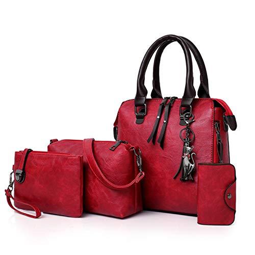 XIAOZHOU 4 Sets PU Leder Tasche Damen Handtaschen Frauen Handtasche Mode Handtasche Quaste Frauen Tasche, Rot - rot - Größe: Einheitsgröße -