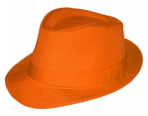 Foxxeo 35263 | Sommer Fedora Hut Panama Strand Gangster Party, Farbe: orange