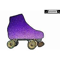 SILVYE Fundas Cubre Patines Especiales Brillantes Y Metalizadas para Patinaje ARTÍSTICO (Violeta con Puntos Redondos