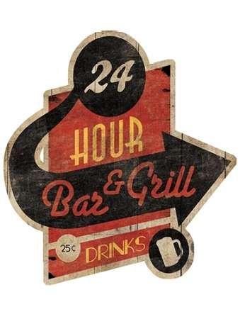 Feeling at home, Stampa artistica x cornice - quadro, fine art print, Bar Grill cut-out cm 84x64