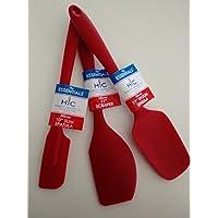 Set of three HIC 11 inch silicone spatulas, 1 Scraper, 1 Spoon, 1 Slim (Red) (Harold Import Silicone)