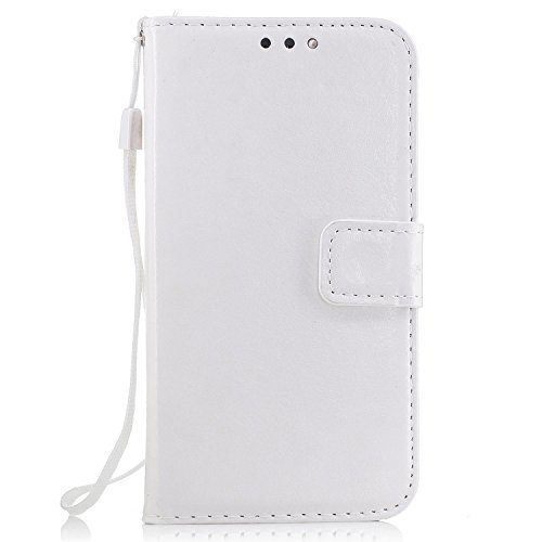 Custodia Samsung Galaxy J5 Cover bianco, Cozy hut [Retro] [Matte] [Portafoglio Protettiva] disegno classico in pelle reale di slot per schede e Screen Protector Premium Design Con Cinturino da Polso Magnetico Snap-on Book style Internamente Silicone TPU Custodie Case in pelle Protettiva Flip Cover Per Samsung Galaxy J5 / SM-J500F 5,0