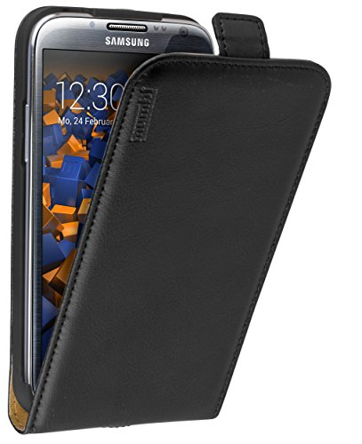 mumbi PREMIUM Leder Flip Case für Samsung Galaxy Note 2 Tasche schwarz