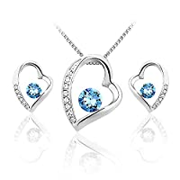 JiangXin Confession Heart Blue Swarovski Crystal Jewellery Set White Gold Plated Pendant Necklace Earring Stud for Women Girls