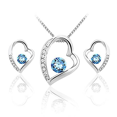 JiangXin Confession Heart Blue Austrian Crystal Jewellery Set White Gold Plated Pendant Necklace Earring Stud for Women Girls