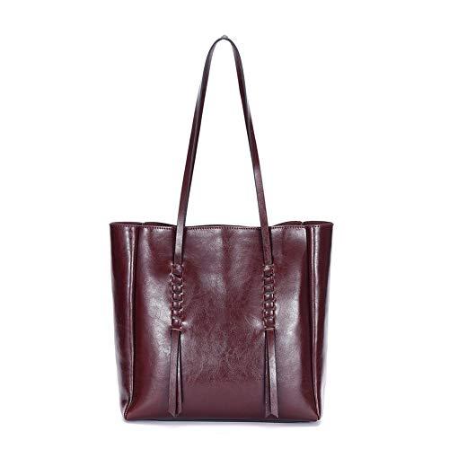 Umhängetasche Handtasche original Design große Kapazität Leder europäische und amerikanische Mode einfach (Color : Wine red, Size : L)