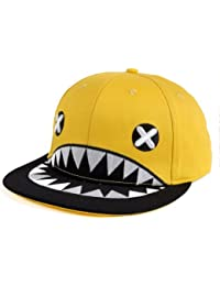LOCOMO Men Women Embroidered Cross Eye Shark Mouth Teeth Baseball Cap FFH061
