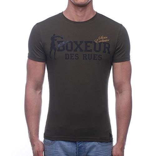 BOXEUR DES RUES Herren BXE-02ESY T-Shirt Mit Rundem Kragen, Armee-Grün, XXXL