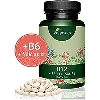 Vitamin B12 hochdosiert Vegavero   B6 und Folsäure   1.000 µg Bio-Aktives Methylcobalamin   180 Tabletten - 6 Monatsvorrat   OHNE Magnesiumstearat   Vegan und FREI von Zusatzstoffen